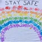 "Today (30th March) in school the children made a giant rainbow banner using their handprints, with the message, ""Stay safe"""